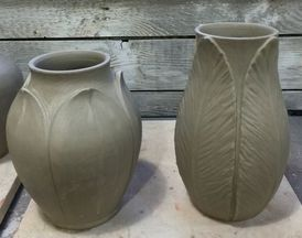 Freshly sculpted vases